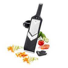 Kompakter V-Hobel - Hobelt Scheiben, Stifte und feine Juliennes – ohne Rucken und Reißen. Passt in jede Schublade. Und sogar an die Küchenreling.