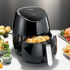 Heißluft-Fritteuse XXL - 5-l-Volumen (statt oft nur 2,5 l). 2.000 W (statt oft nur 1.500 W). Ideal für die fett- und kalorienarme Küche. Und für große Portionen.