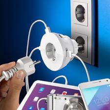 Steckdoseneinsatz mit 4 USB-Ports - 4 USB-Power-Ports – und die Netzsteckdose bleibt frei. 230-V-Steckdose und Ladeplatz für Handy & Co. in einem.
