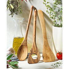 Olivenholz-Kochbesteck, 3-teilig - Jedes ein Unikat: aus uraltem Olivenholz. Von Hand gefertigt und über Jahre schön. Schont empfindliche Antihaftbeschichtungen.