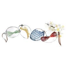 Glasnetz-Ostereier, 4er-Set - Außen schlichtes Klarglas. Innen mit kunstvoll handgefertigtem Glasnetz.