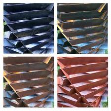 Von Natur aus nimmt der anfangs rostfreie Stahl schnell die angesagte, intensiv rotbraune Rost-Oberfläche an.
