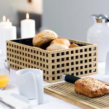Brotkorb aus Eichenholz - Luftig aber krümeldicht, aus edlem Eichenholz mit Gitterstruktur. Der Holzdeckel ist zugleich Servier- und Schneidbrett.