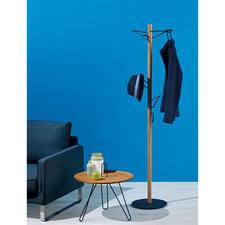 Standgarderobe - Edles Design aus Eichenholz und schwarzem Metall. Und ein wahres Raumwunder.