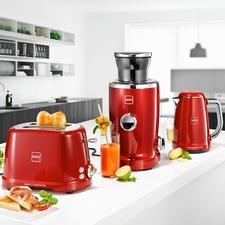 Novis ToasterT2, Novis VitaJuicerS1 und Novis WasserkocherKTC1, Rot