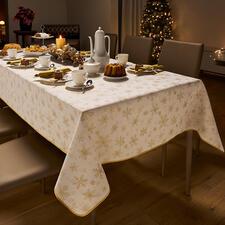Damast-Weihnachtsdecke - Elegantes Glitzern: Tischdecken aus kostbarem Damast.
