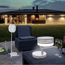 Kabelloser Vario-Ventilator - Stand-, Tisch- und Reiseventilator in einem. Mit Akku (statt Netzstrom). Erfrischt drinnen und auf Terrasse, Balkon, beim Picknick, ...