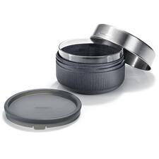 Lunch-Container bestehend aus: 750ml-Glasschale, Behälter aus Holzfaser und Polypropylen, Silikondeckel, Edelstahl-Schraubdeckel.