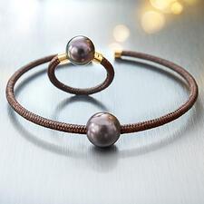 Tahiti-Armspange oder -Ring, roségold - Exquisites, modernes Design aus Tahiti-Zuchtperlen, echtem Gold, Sterling-Silber und Nylon.