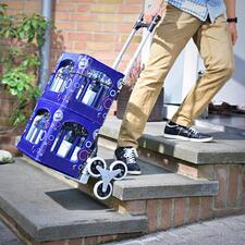 Faltbare Treppen-Sackkarre - Überwindet Stufen und Hindernisse fast von allein. Platzsparend faltbar.