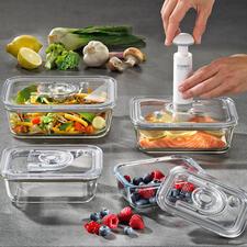 VakuumdosenausGlas,4er-Set - Halten Ihre Lebensmittel bis zu 8-mal länger frisch. Froster-, backofen- und mikrowellenfest und lebenslang hygienisch.