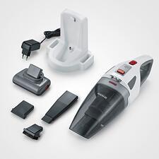 Der S'Power®Akku-Handsauger wird geliefert mit: Wandhalter/230V-Ladestation, rotierender Turbo-Bürste, 13cm-Fugendüse, Gummiaufsatz für Flüssigkeiten und Bürsten-Aufsatz für z.B. Tastaturen, Möbel.