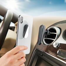 SOSSmartphone-Halter - Universeller Smartphone-Halter und unverzichtbares Notfall-Tool in einem. Magnethaftung. Glasbrecher und Gurtschneider integriert.