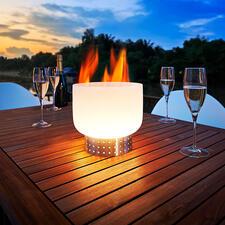 Glas-Tischfeuerschale - Die Feuerschale aus Quarzglas: spektakulär für Tisch & Terrasse. Schafft magische Momente auf Balkon, Terrasse und im Garten.