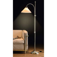 Berliner Messing-Stehlampe, Vernickelt oder Antik-Finish - Noch traditionell gefertigt, aus Messing & mundgeblasenem Opalglas.