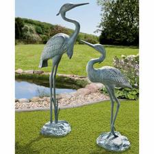 Gartenskulptur Fischreiher, 67 cm oder 90 cm - Nahezu lebensgroß & mit wunderschöner Patina: ganzjährig ein eleganter Blickfang. Aus wetterfestem Aluminium.