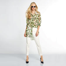 Versace Collection Pfauenfeder-Bluse - 1 Bluse – 4 Trends: Federn. Schmetterlinge. Longform. Flatterstoff.