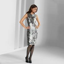 Versace Collection Sanduhr-Kleid - Heute hochaktuell – und morgen ein Evergreen: Versaces Ornamenten-Kleid mit Spitzen-Optik.