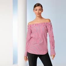 Pinko Off-Shoulder- Streifenbluse - Pinko macht die Off-Shoulder-Bluse sogar businesstauglich.