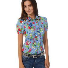 Love Moschino Denim-Bluse - Denim. Früchte. Blüten. Verspielte Details. Love Moschino: 5 gute Gründe für diese Bluse.