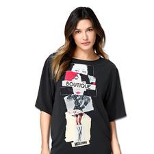 Boutique Moschino Print-Kleid - Moschinos Kleider-Bestseller trifft zugleich die aktuellen Trends: fließende Stoffe und kastige Formen.