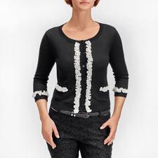 TWINSET Couture-Cardigan - Dauertrend Schwarz/Weiß: Jetzt verspielt verziert mit angesagten Rüschen. Der Couture-Cardigan von TWINSET.