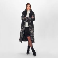 Blugirl Karo-Blüten-Mantel - 4 Top-Trends – 1 Mantel: lange Oversize-Form, Flausch-Stoff, klassischens Muster und die Blugirl-Spezialität Blüten.