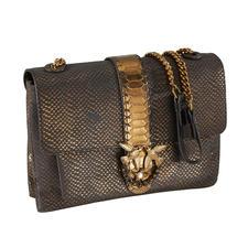 Pinko Metallic-Tasche - Erschwingliches Highfashion-Design von italienischer Eleganz: die blaue Python-Metallic-Bag mit angesagter Gliederkette. Von Pinko.