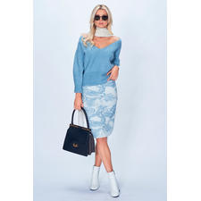 Stefanel Pullover oder Strickrock Ice Blue - Ice Blue allover: Die perfekte Strickkombination in der 2018er Winter-Trendfarbe kommt von Stefanel.
