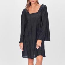 Stefanel Black-Boho-Dress - Boho-Trend auf den Punkt gebracht – und selten so dezent. Designer-Kleid von Stefanel – aber ohne Designer-Preis.