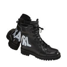 Karl Lagerfeld Hiker-Boots - Derbe Boots & Wording. Topmodisch und legendär vereint in diesen handbemalten Hiker-Boots von Karl Lagerfeld.