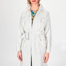 """Pinko White Trenchcoat Similpelle - Pinkos """"Washed Similpelle"""" macht aus dem empfindlichen weißen Leder-Trench ein tragbares Trend-Piece."""