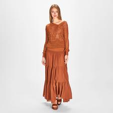 Pinko Lochstrick-Pullover oder Maxi-Rockkleid - Stilistisch und farblich die perfekte Kombi –für die aktuelle Mode, den Urlaub, Business, Freizeit, Party, ...