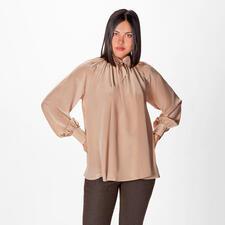 SLY010 Seidenstretch-Schluppenbluse - SLY010 Signature-Piece: die Seiden-Bluse in bewährter Stretch-Qualität und mit modischem Upgrade: Ballonärmel. Schluppe. A-Linie & längerer Rücken.