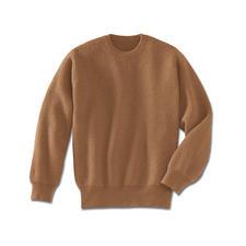 Kamelhaar-Pullover - Der Luxus eines echten Kamelhaar-Pullovers. Fully-fashioned in Form gestrickt, anschließend zusammengekettelt.
