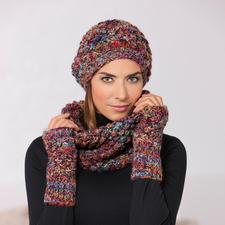 Kero Design Dornröschen-Beanie-Mütze, -Fingerlos-Handschuhe oder -Loop-Schal - Von Hand gefärbt und gestrickt: Seltenes Dornröschen-Muster in außergewöhnlicher Farbvielfalt.