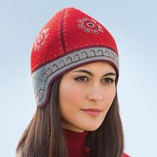 Kirgistan mit Ohrenschutz, Rot