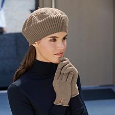 Mütze, Beige und Handschuhe, Beige-meliert