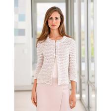 ANNECLAIRE Bouclé-Cardigan, Creme/Rosé/Hellgrau - So bequem und sommertauglich kann eine elegante Bouclé-Jacke sein. Gestrickt aus luftiger Baumwoll-Mischung.
