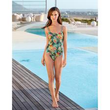 SunSelect®-Badeanzug Hibiskus - Aus Sonnen durchlässigem SunSelect® – mit außergewöhnlichem Palmen/Hibiskus-Print.