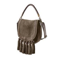 Anokhi Ethno Saddle-Bag - Taschenfavorit Saddle-Bag: Diese ist 5-fach modisch. Ethno-Style. Troddeln. Veloursleder. Oliv. Flechtung.