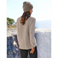 Woll-Kaschmir-Pullover - So raffiniert sind nur ganz wenige Woll-Kaschmir-Pullover. Verlängerter Rücken mit Diagonalrippen. Raglanärmel. Abgerundeter Saum.