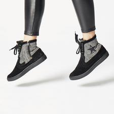 Basic-Schuh, Schwarz mit Schaft-Cover, Schwarz Glam-Star