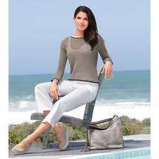Liu Jo Marine-Pullover - Maritim auf italienisch elegante Art. Luftiger Lochstrick. Glamouröses Glanzgarn. Raffinierter Rücken.