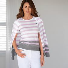 Smedley Blockstreifen-Twinset, rosa/grau - Purer Luxus aus wertvoller Sea Island-Baumwolle. Das Feinstrick-Twinset von John Smedley/England.