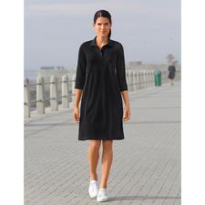 Sunspel Mesh-Kleid - Schwarz bei 30 °C im Schatten? Ja! Das Polo-Kleid aus luftigem Baumwoll-Mesh. Von Sunspel, England.