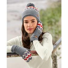 Aigle Strickfleece-Norweger-Mütze oder -Fäustling - Modisches Norweger-Muster – endlich vollkommen kratzfrei.