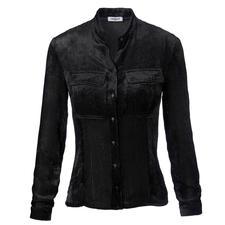 Cacharel Samt-Bluse - Selten ist eine schwarze Bluse so elegant und gleichzeitig so ungewöhnlich.