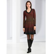 M Missoni Wellenstrick-Kleid, schwarz-orange - M Missonis Wellenstrick-Klassiker in den aktuellen Trendfarben.