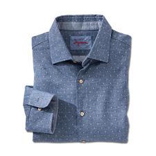Flanell-Denim-Hemd - So modern kann ein Flanellhemd sein. Denim-Optik mit Jacquard-Dessin. Von Ingram.